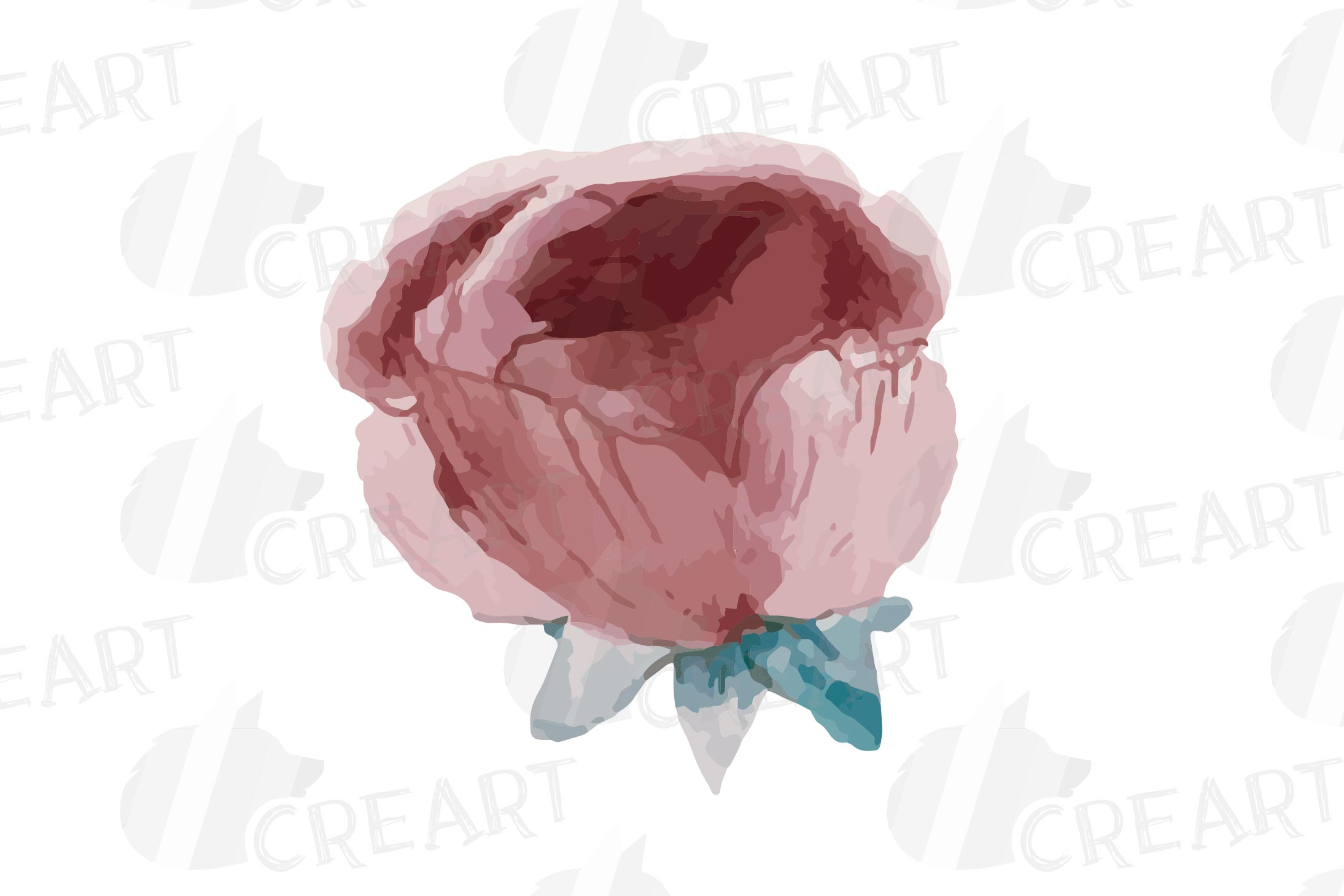 Floral navy watercolor, dark indigo and blush pink flowers example image 10