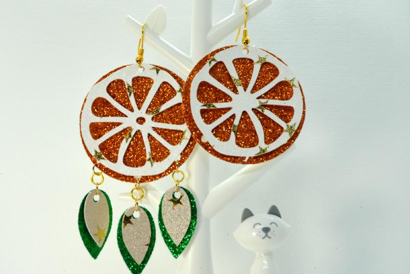 Orange earrings template SVG, DIY earrings template example image 3
