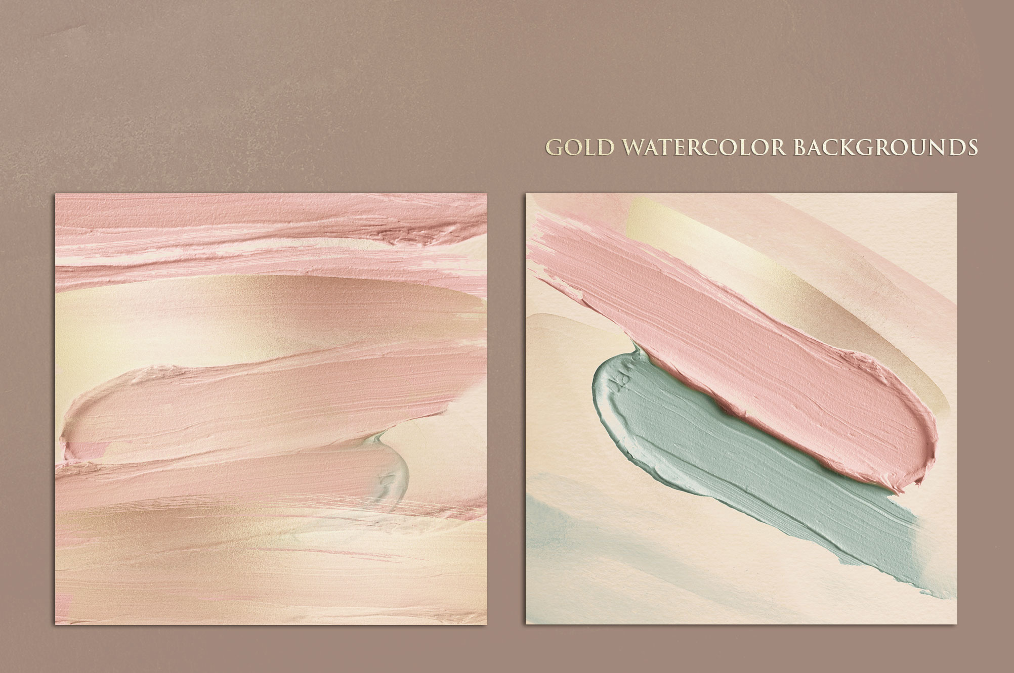 Brush Strokes - Rose Gold Watercolor Backgrounds example image 6