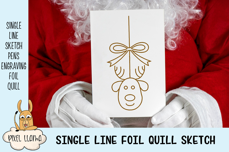 Christmas Ornaments Elements Bundle of 10 Single Line Sketch example image 3