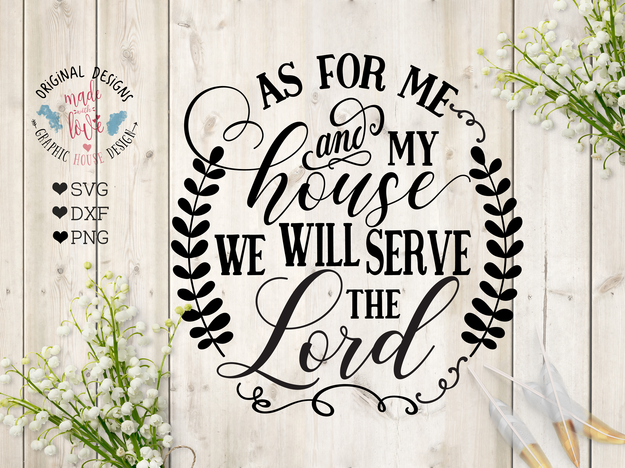 As for me and my house we will serve the Lord Cutting File (SVG, DXF, PNG) example image 1