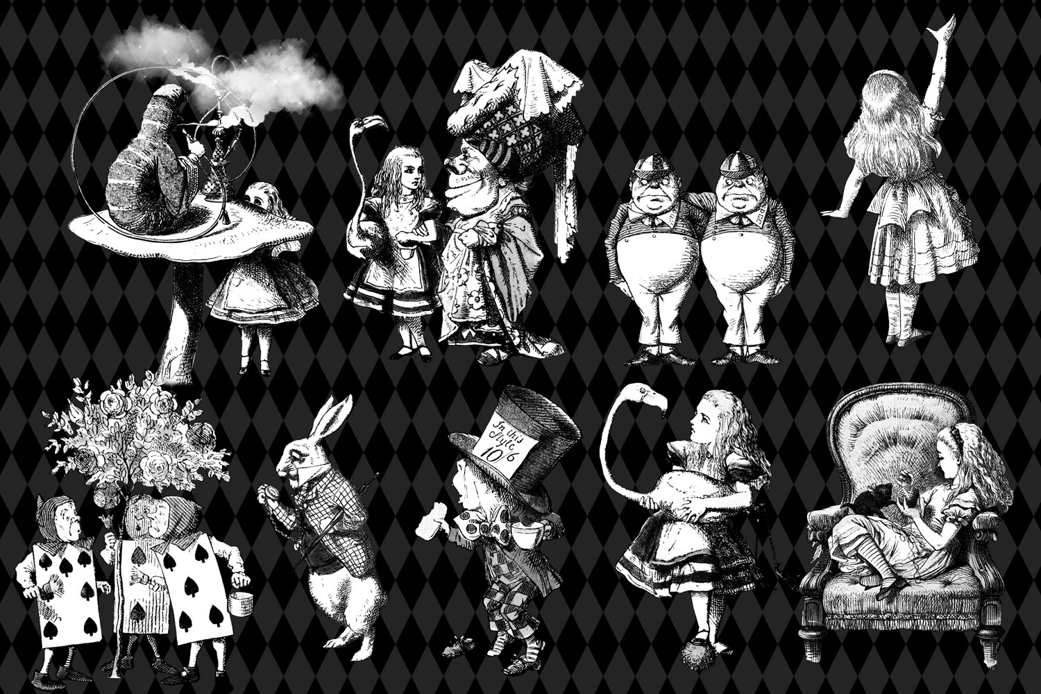 Black and White Alice in Wonderland Graphics example image 2