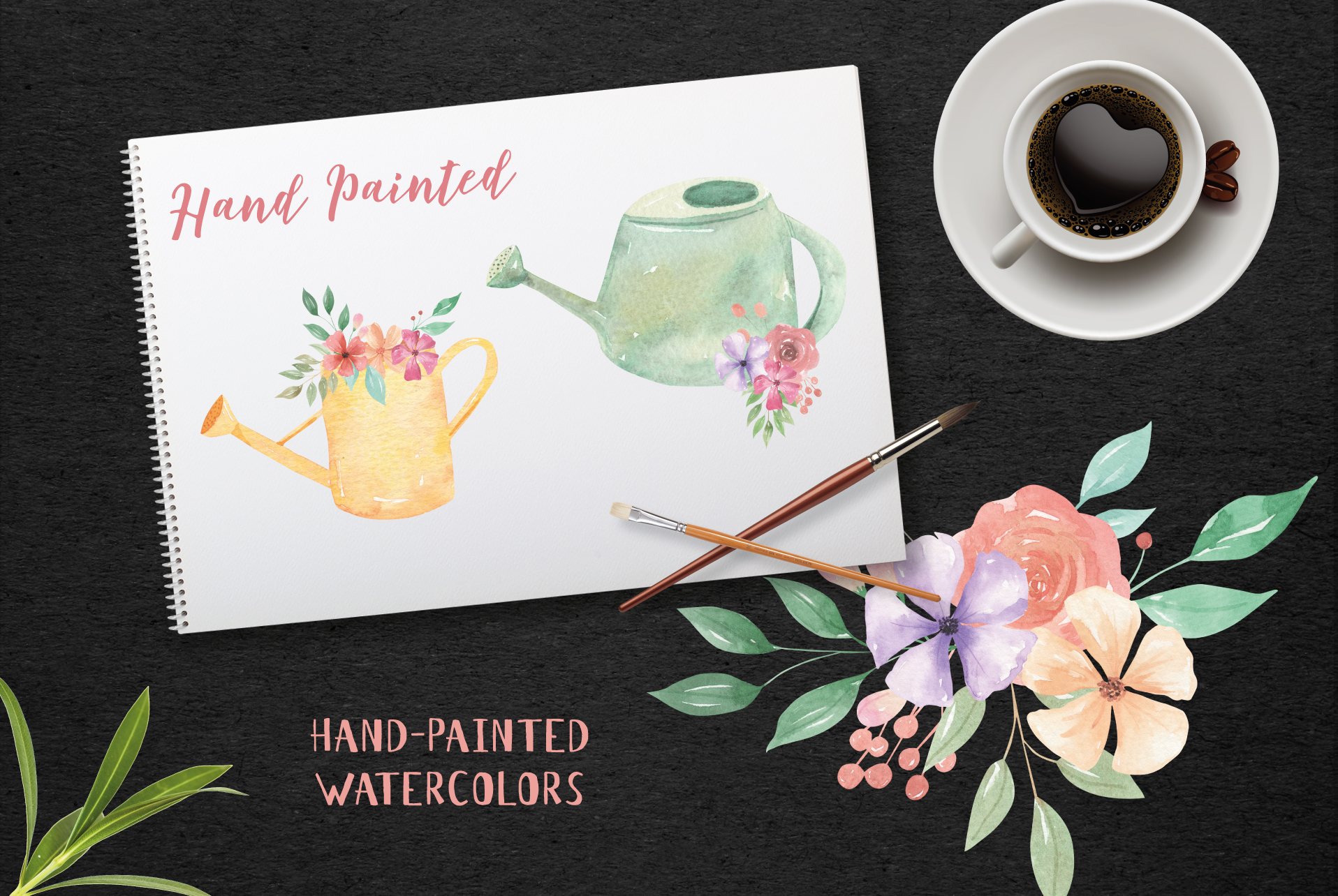 Watering Can Watercolor Floral Spring 12 Bouquets Spring example image 5