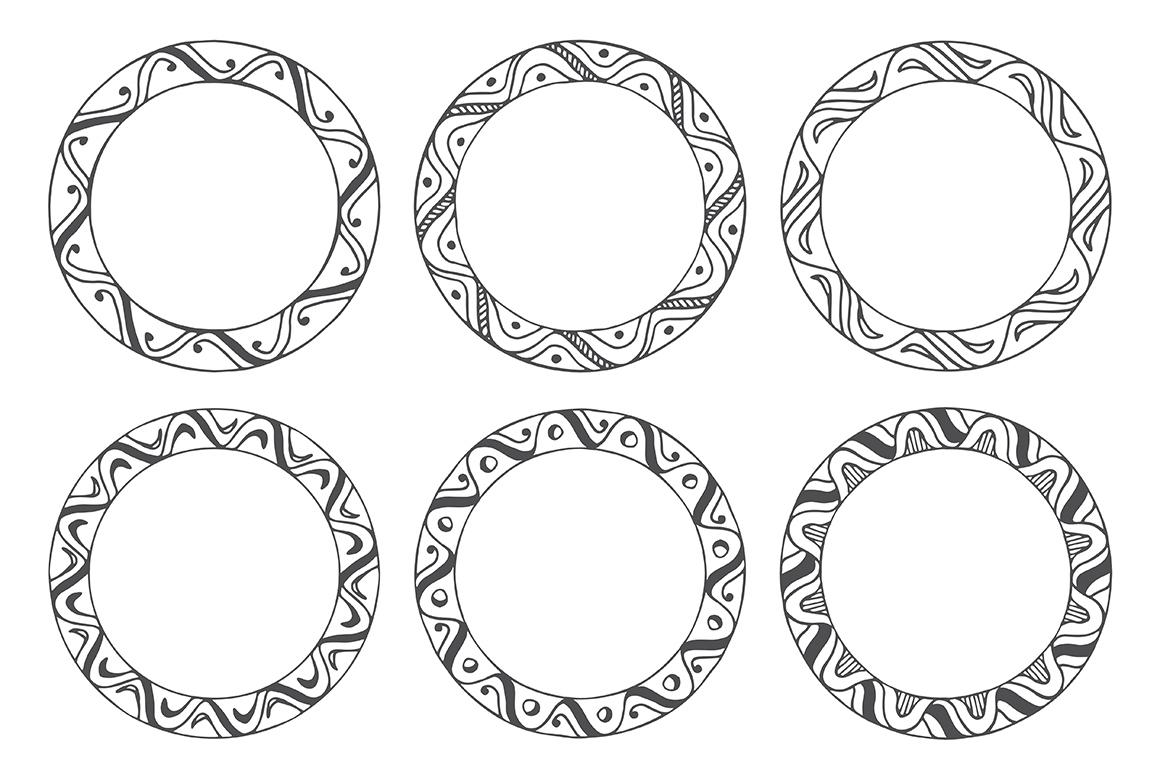 90 Hand Drawn Decorative Round Frames example image 14