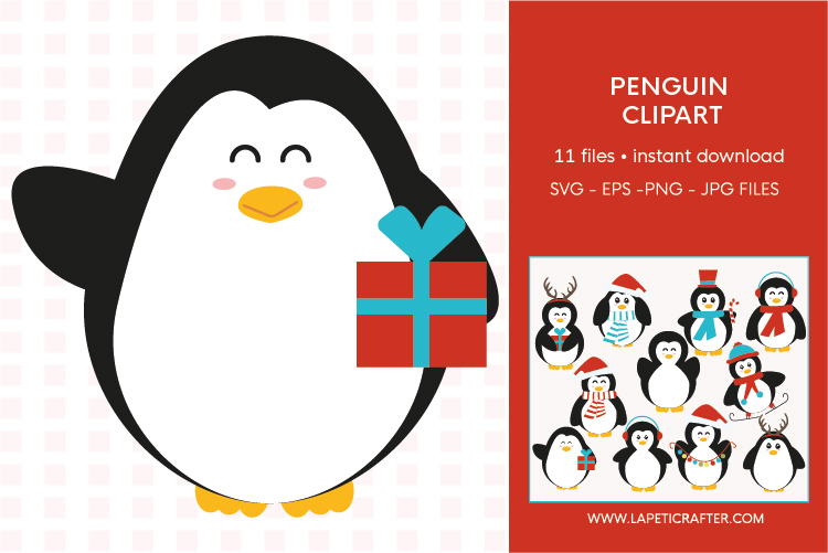 Christmas penguin clipart set, winter animals vector example image 6