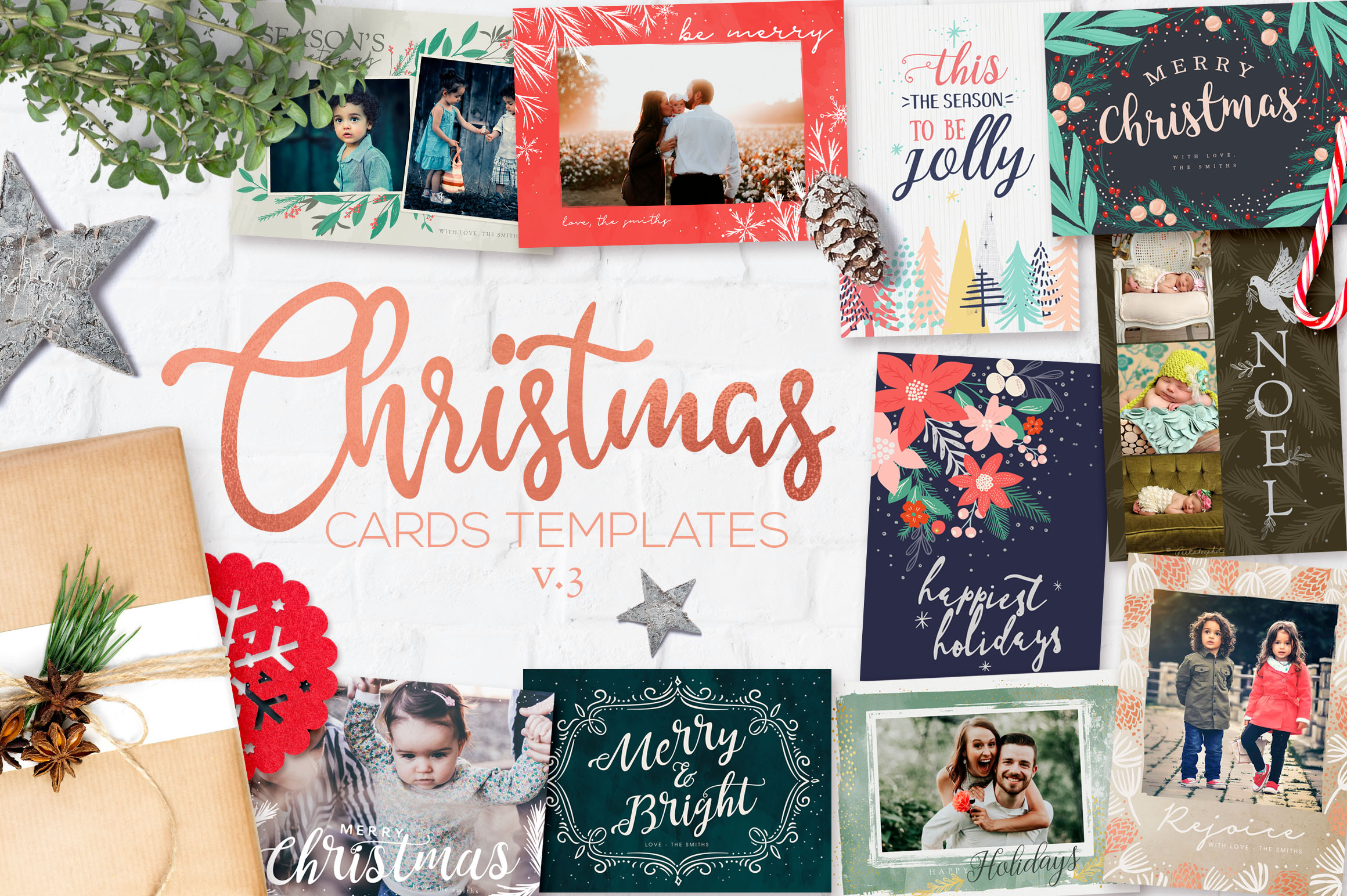 Christmas Card Templates v.3 example image 1