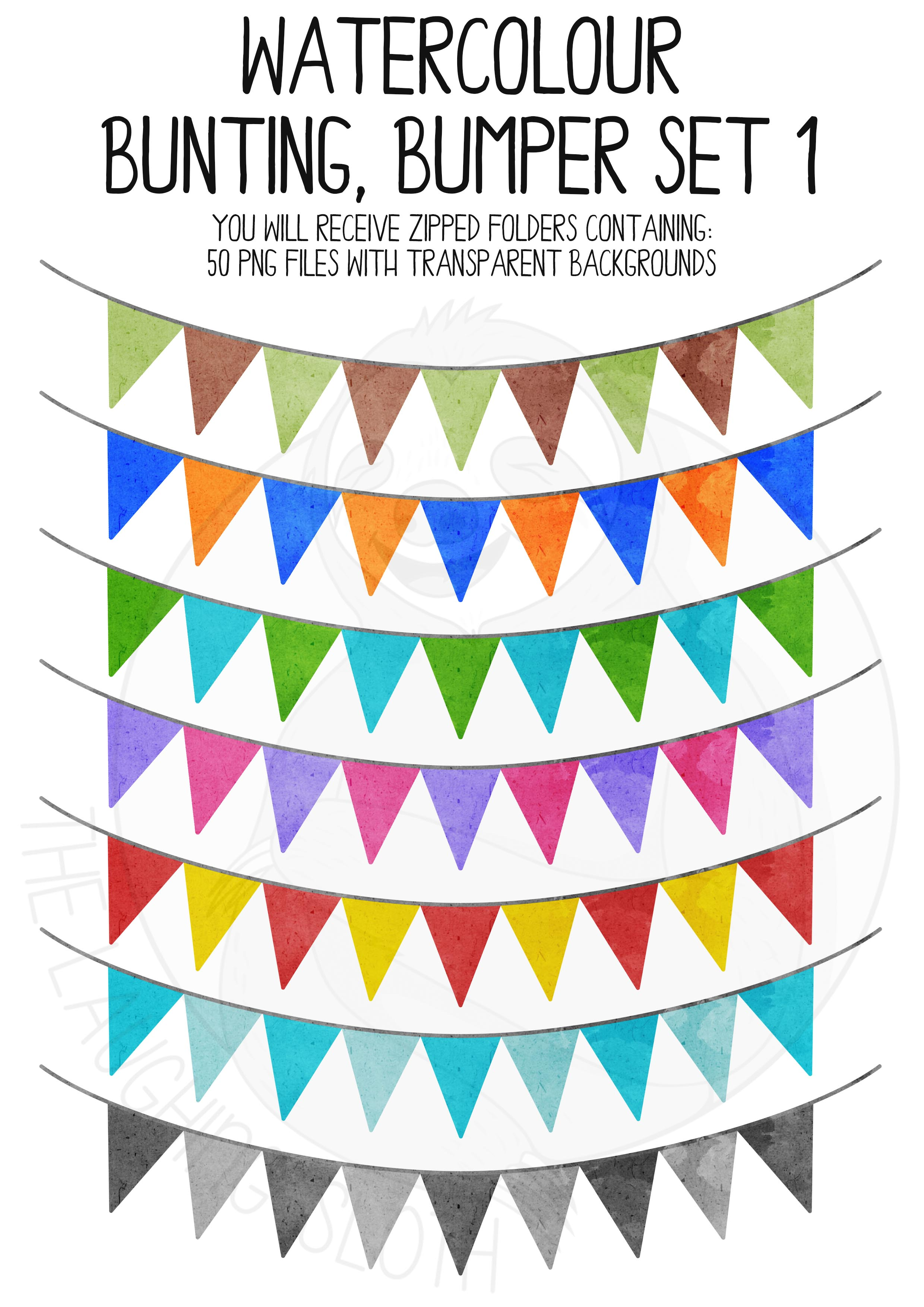 Watercolor Bunting Bumper Clipart Set example image 3