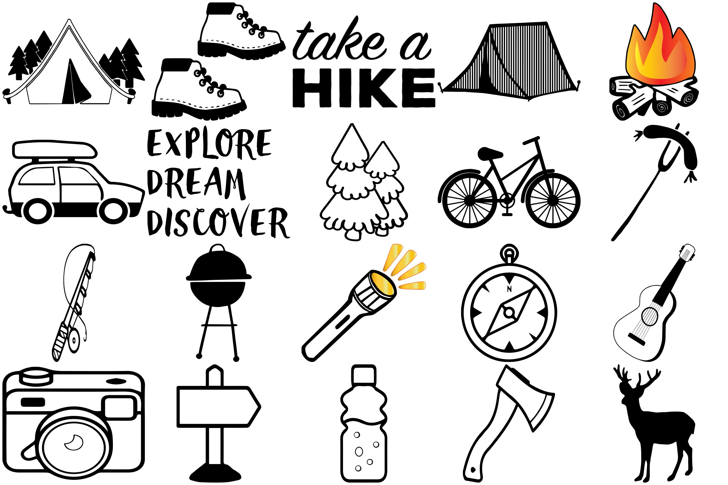 Camping Doodles & Silhouettes Mega Bundle AI EPS PNG example image 3