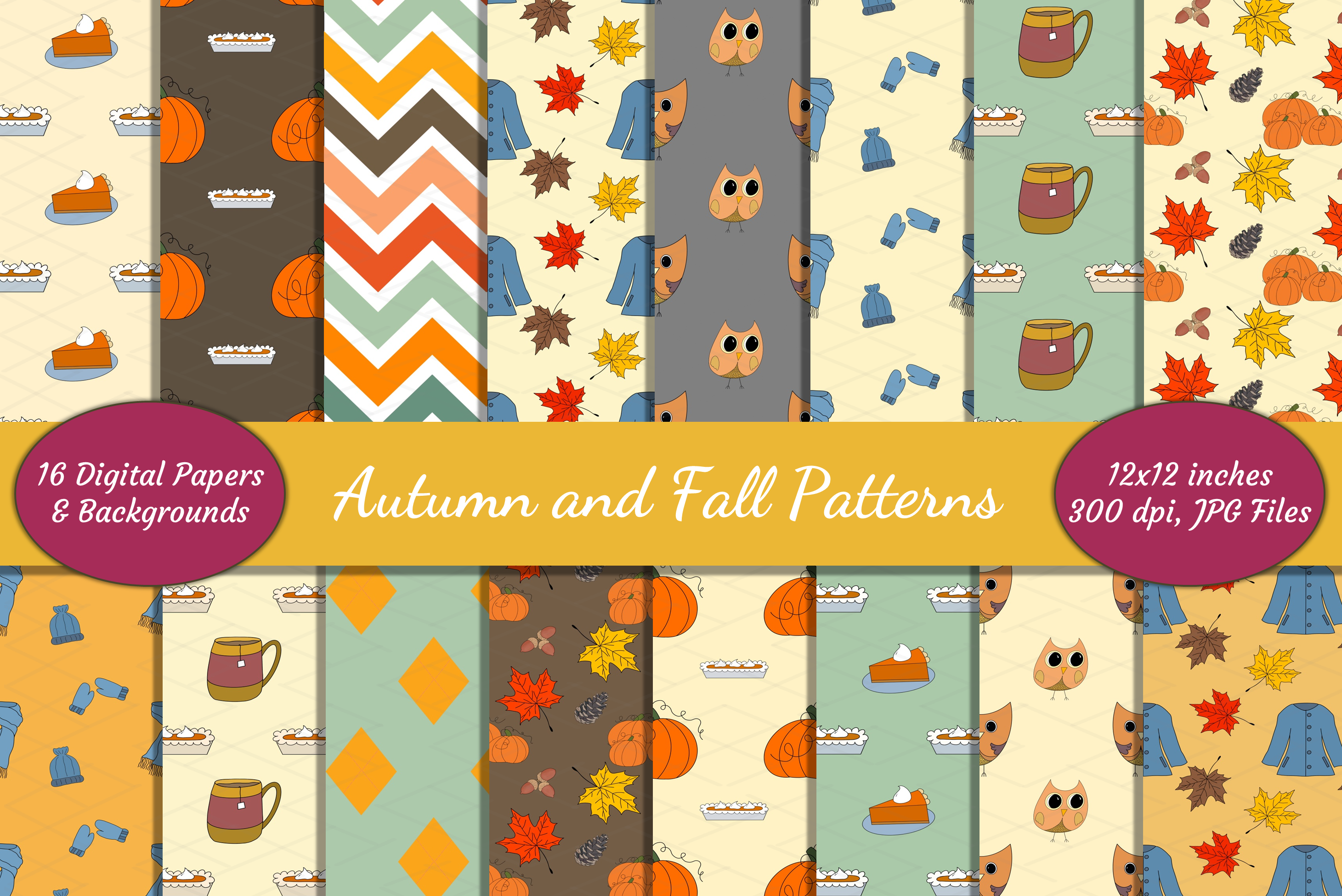 Autumn Fall Patterns Harvest Digital Papers Bundle Pumpkins example image 1