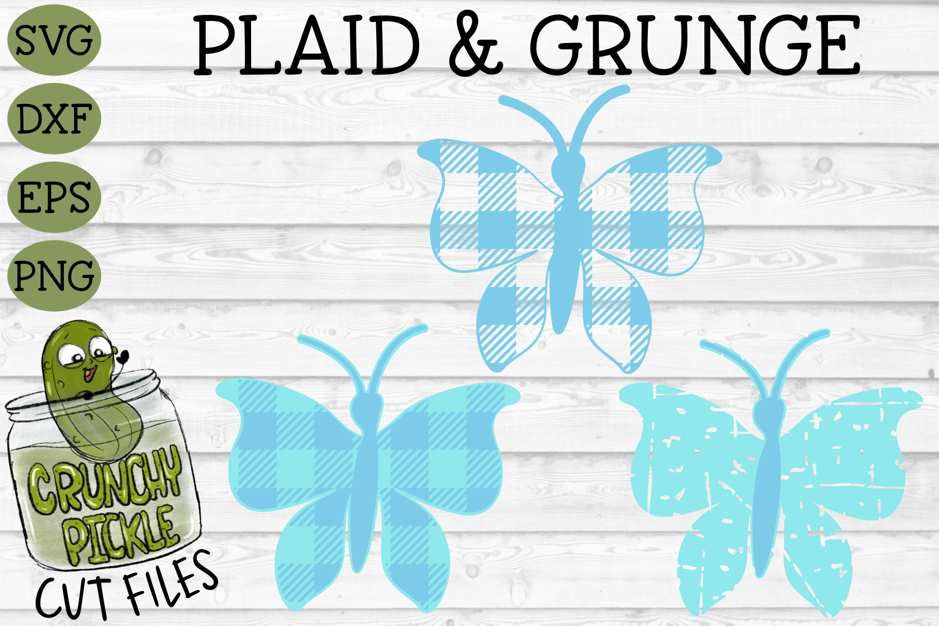 Plaid & Grunge Butterfly 1 SVG Cut File example image 1