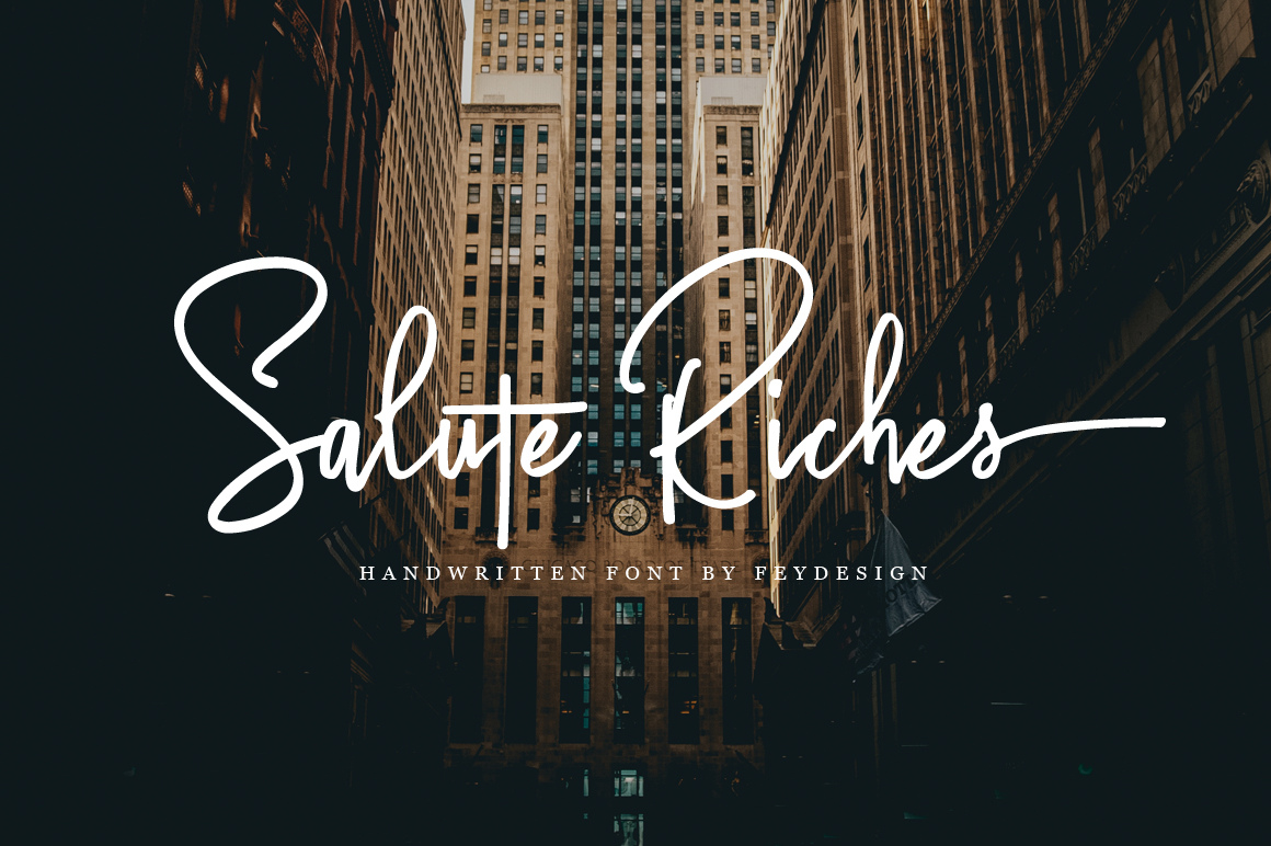 Salute Riches - Handwritten Font example image 1