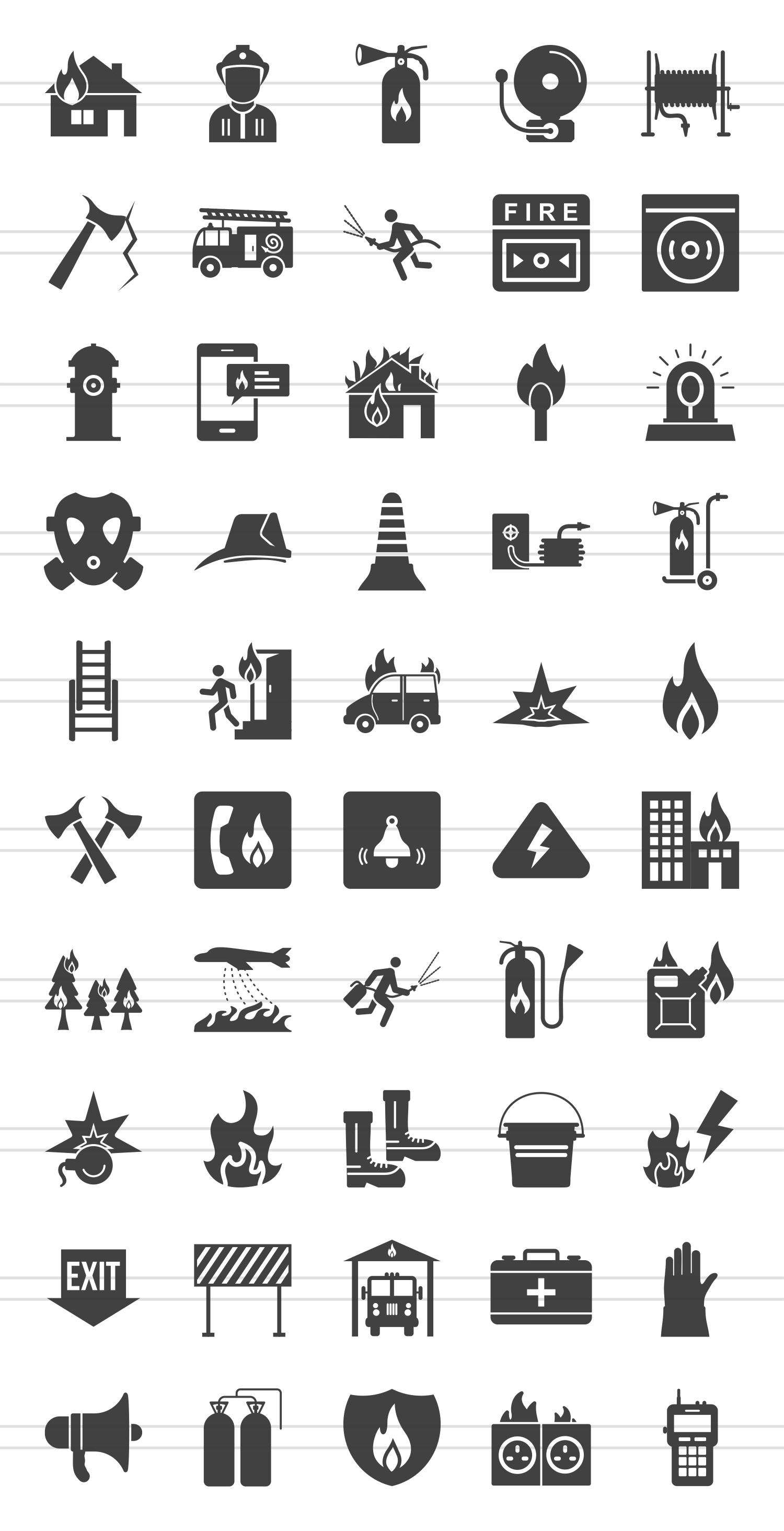 50 Firefighting Glyph Icons example image 2