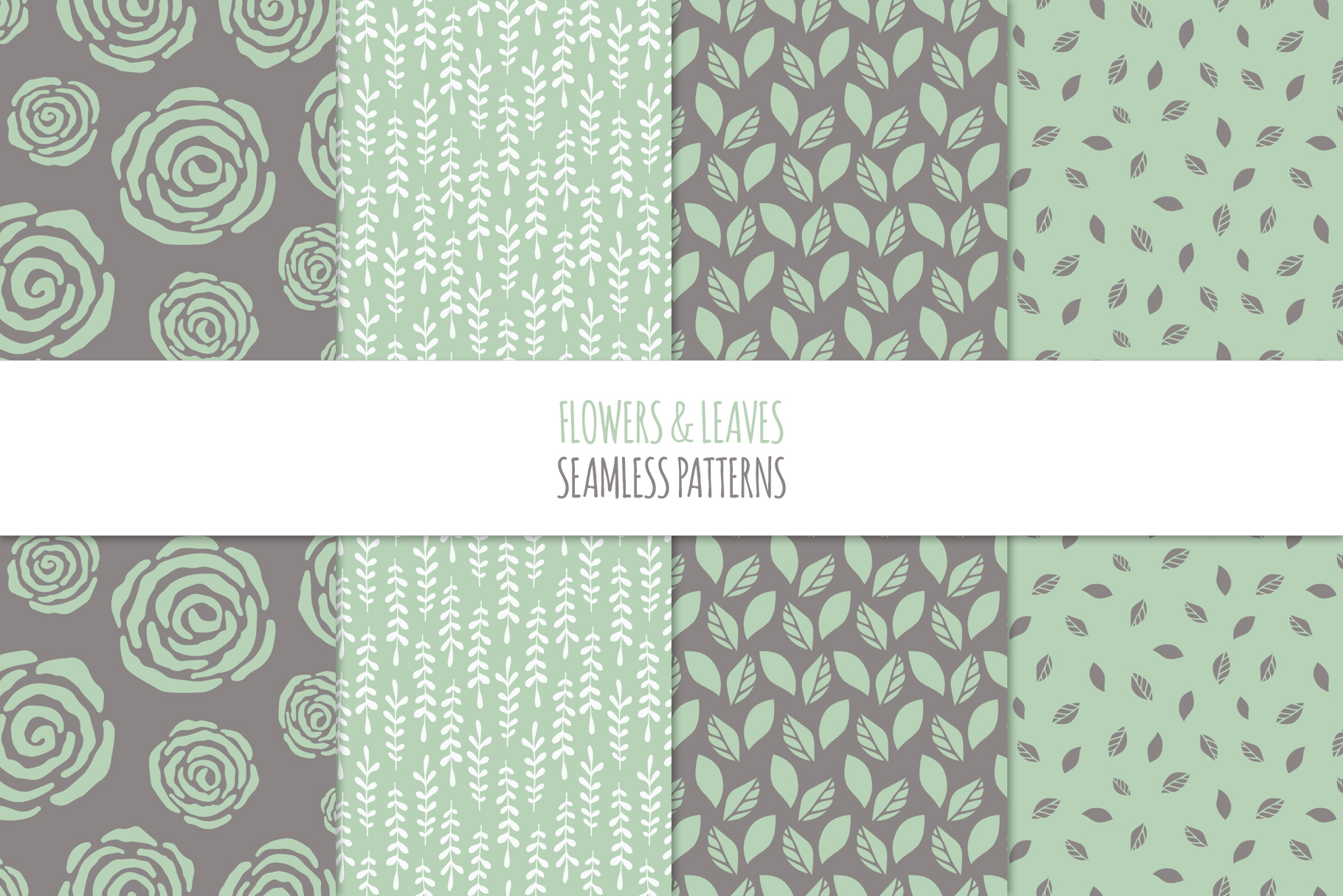 Floral Seamless Patterns - Green example image 2