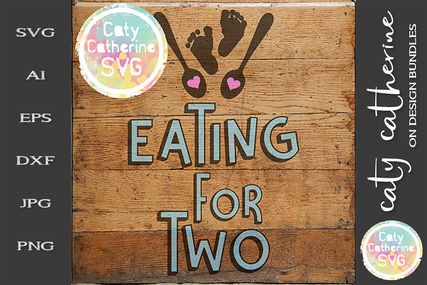 Couples Pregnancy Design Eating For Two SVG Cut File example image 2