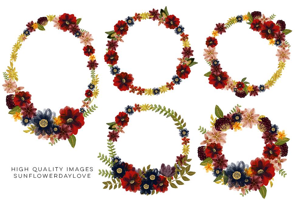 Marsala Burgundy Navy Floral Watercolor Set Clip art example image 12