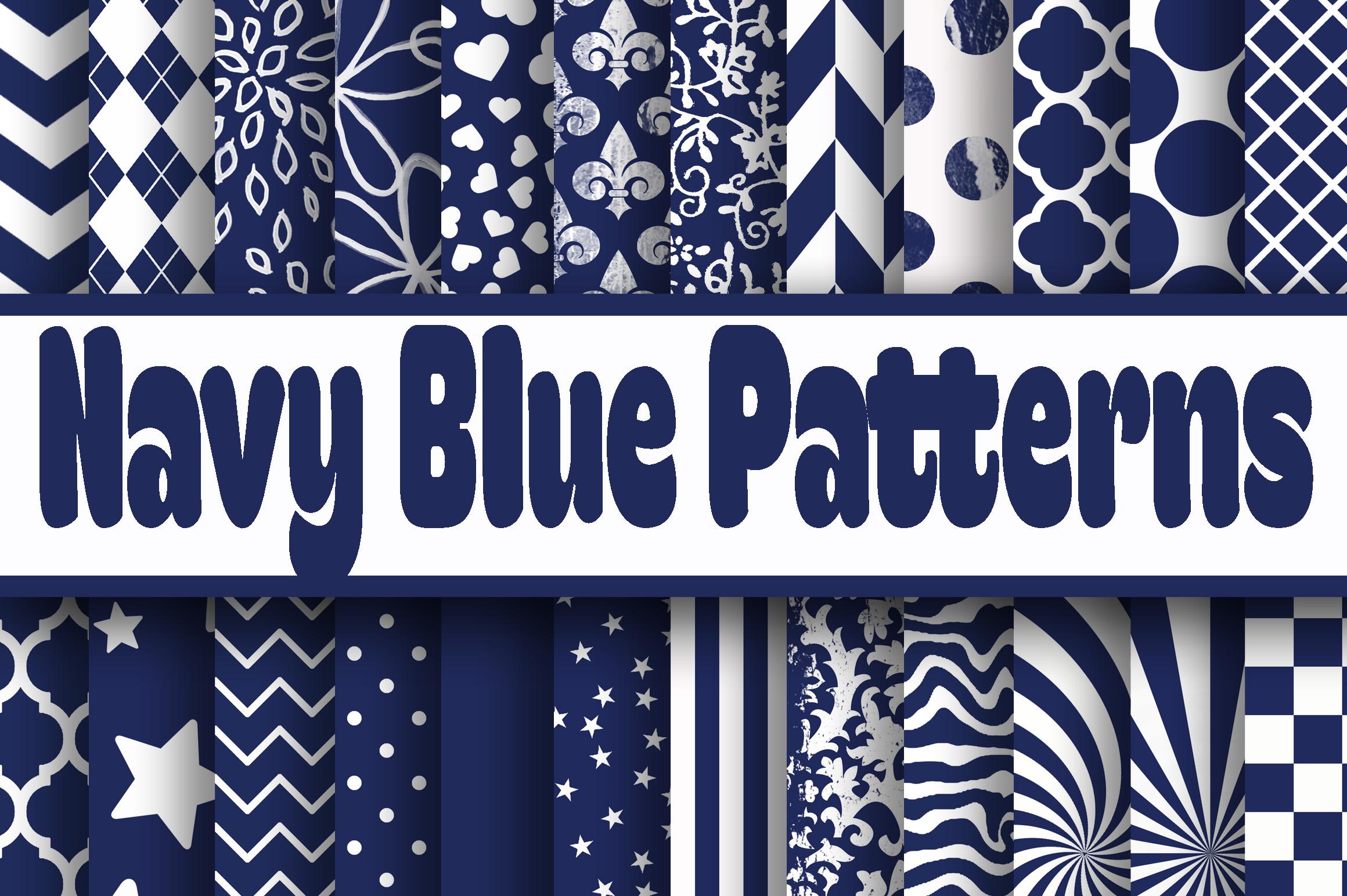 Navy Blue Patterns Digital Paper 37257 Backgrounds Design Bundles
