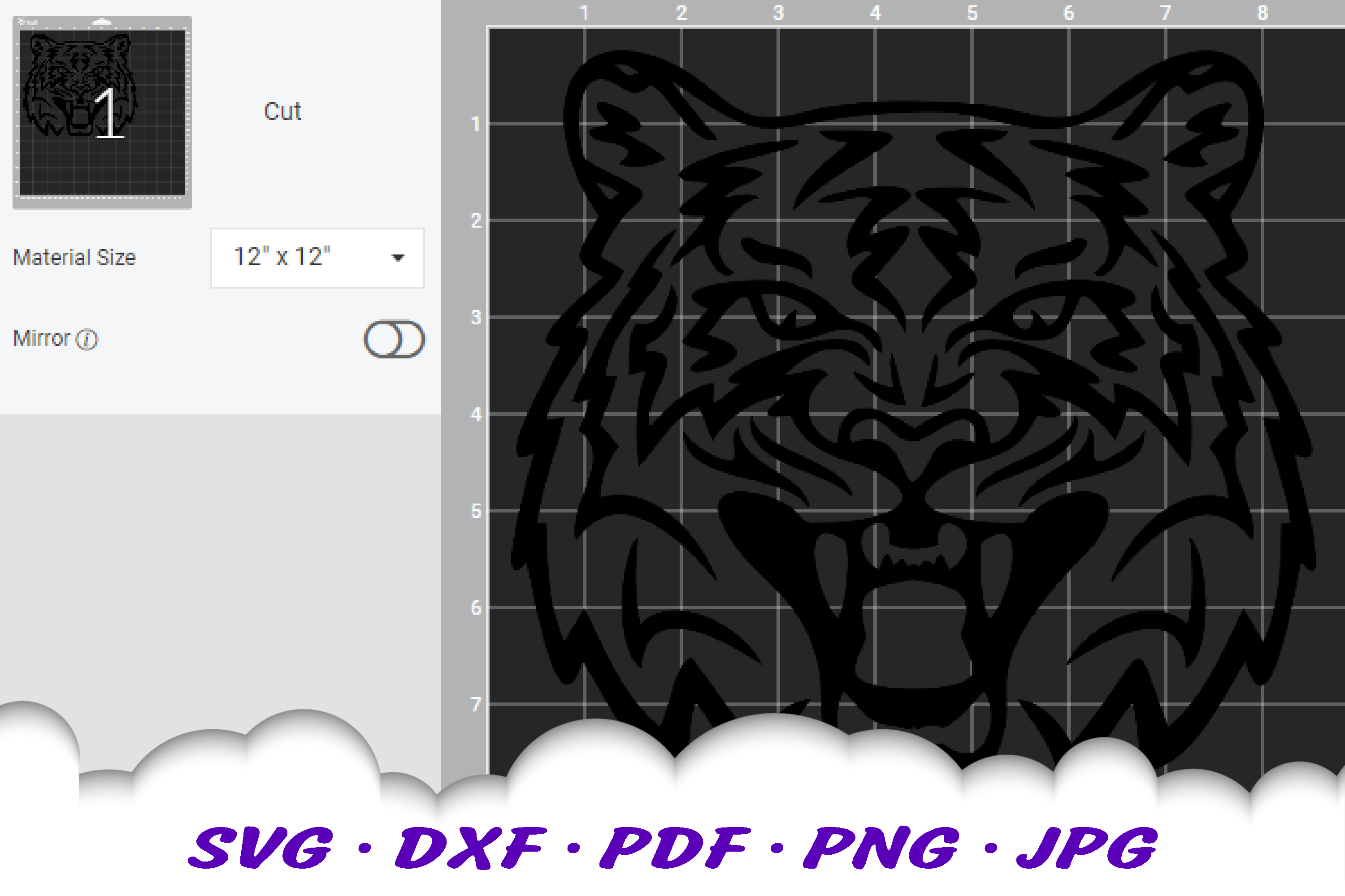 Tiger Mascot Sports Team SVG DXF Cut Files example image 3