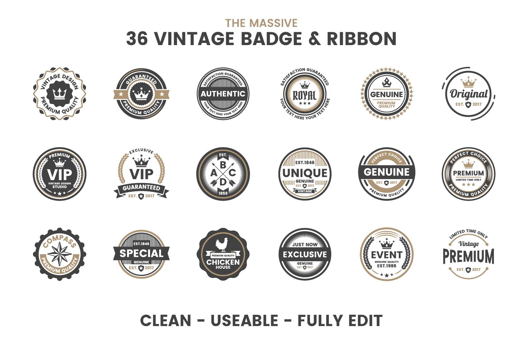 36 VINTAGE BADGE & RIBBON Vol.3 example image 7