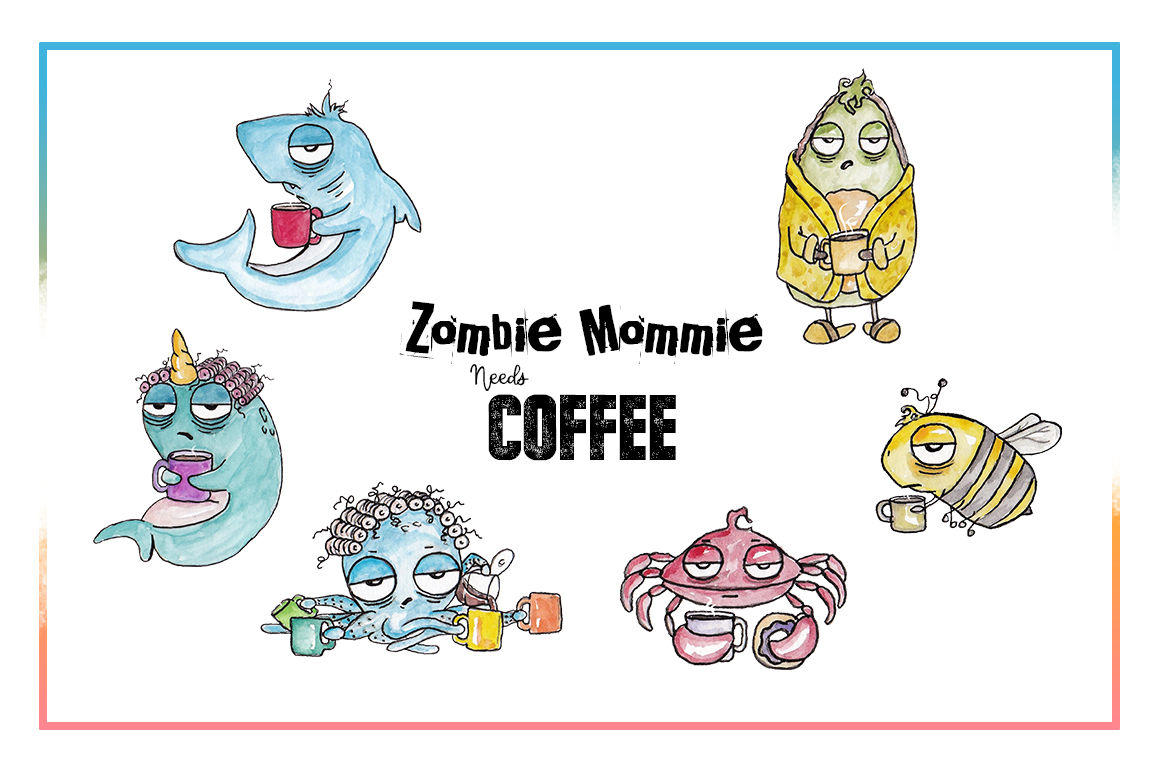 Coffee Clipart, Sublimation, Zombie, Mombie, PNG, Unicorn example image 4