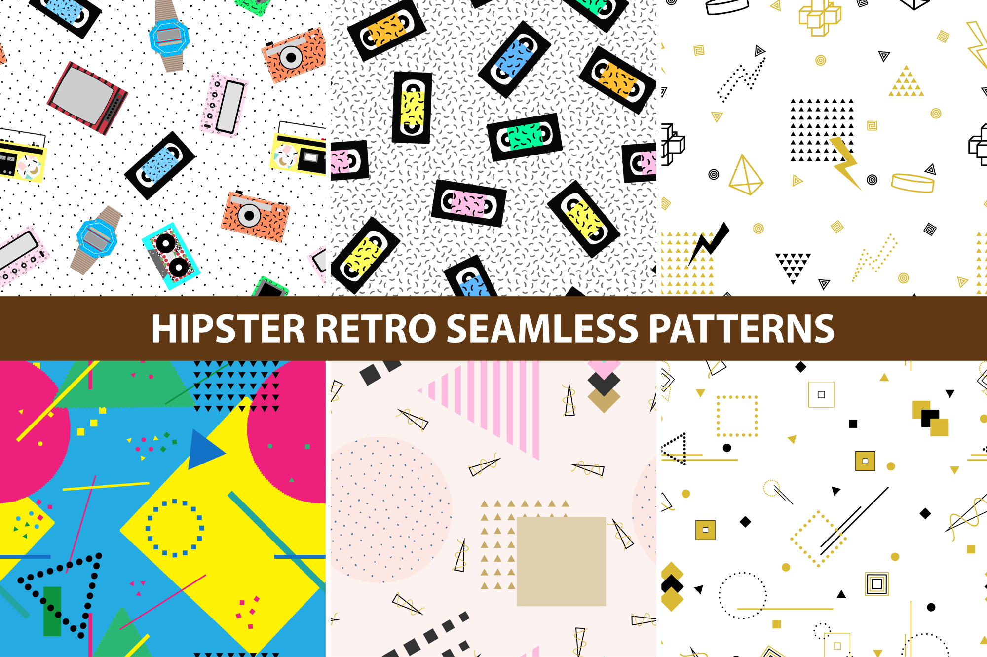 Hipster retro memphis patterns. example image 1