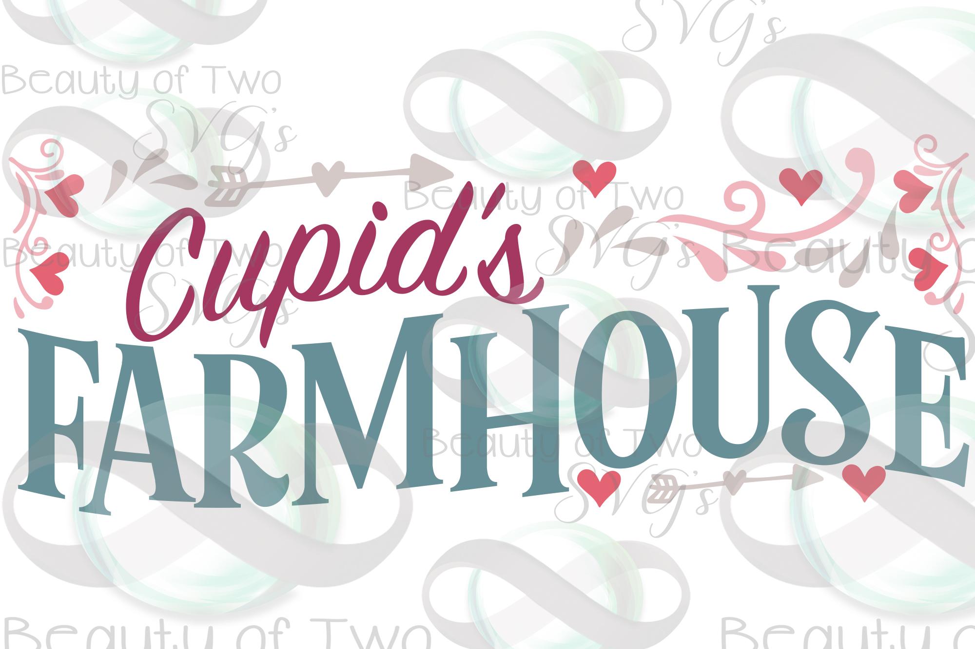 Valentines Cupids Farmhouse love hearts svg, Valentines svg example image 2