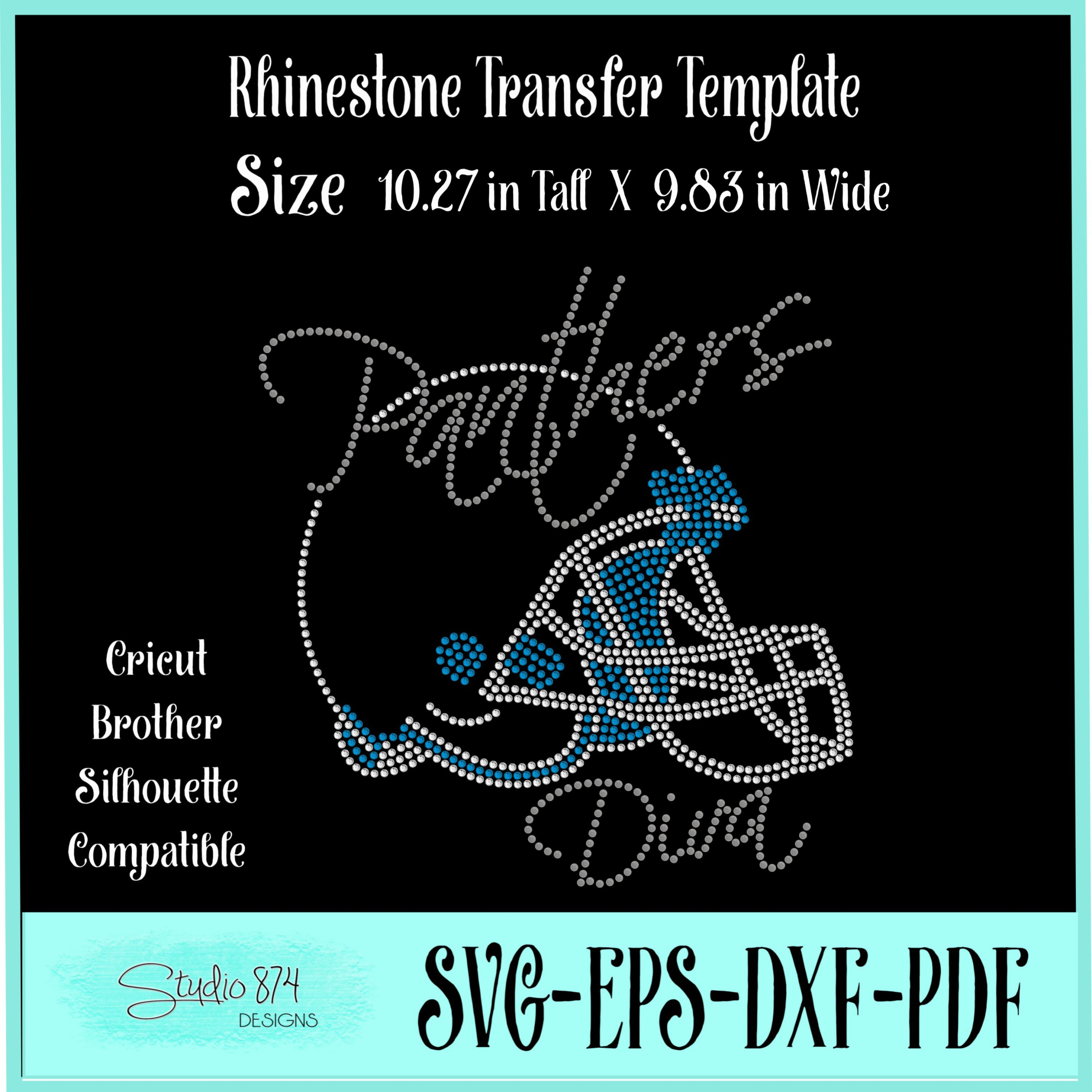 Panthers Football Rhinestone Template Download Diva R1 example image 3
