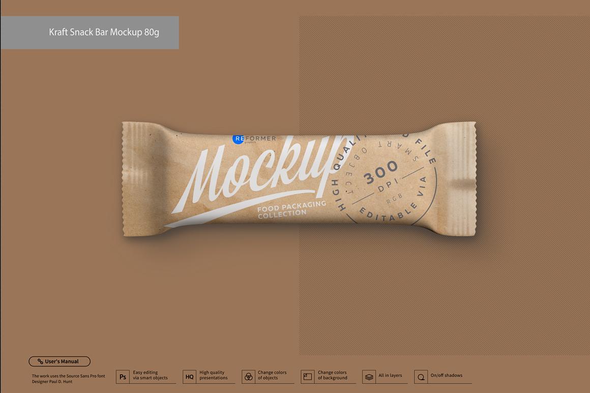 Kraft Snack Bar Mockup 80g example image 1