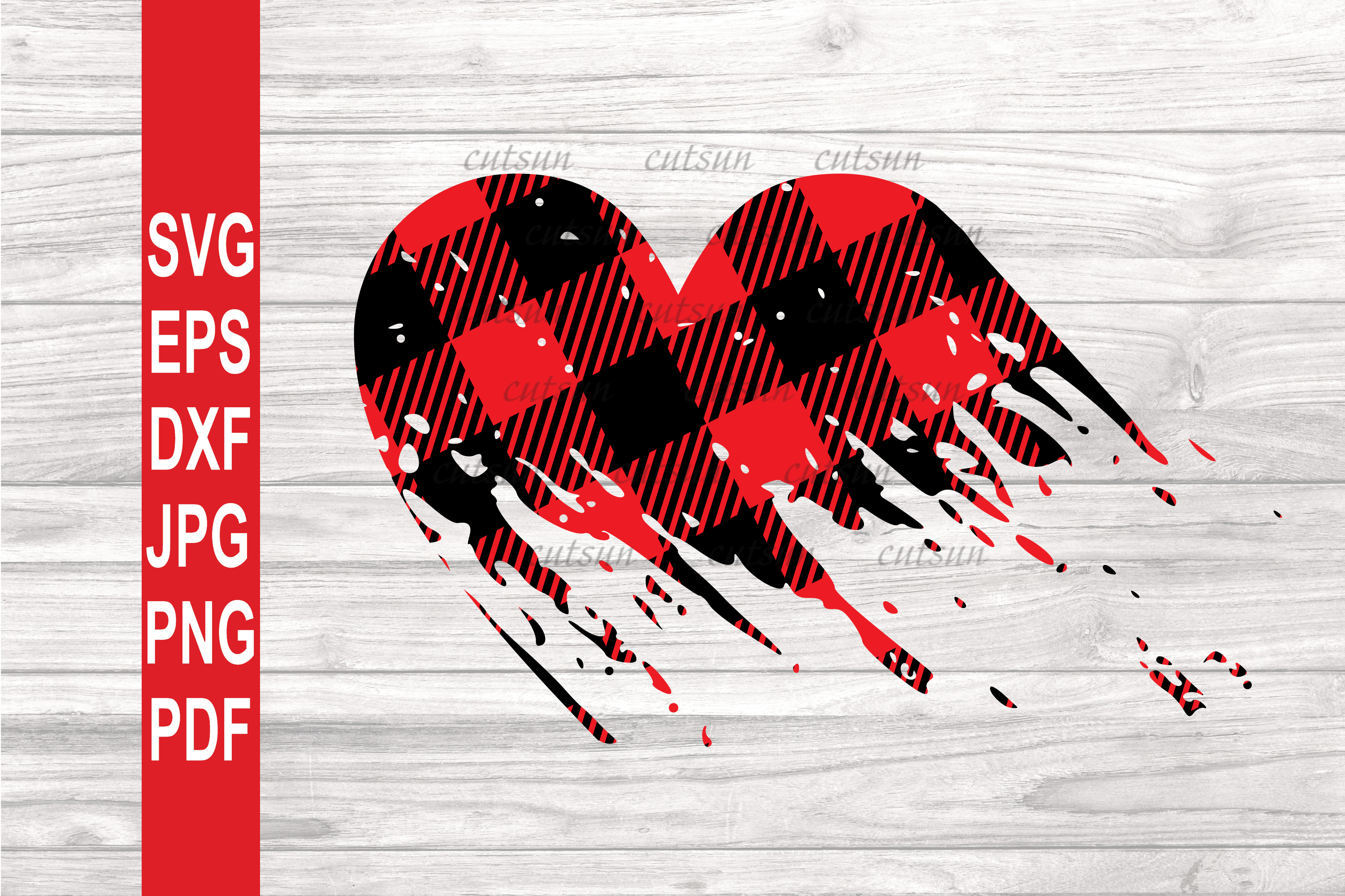 Valentine SVG| Plaid Heart Distressed SVG | Valentines day S example image 1