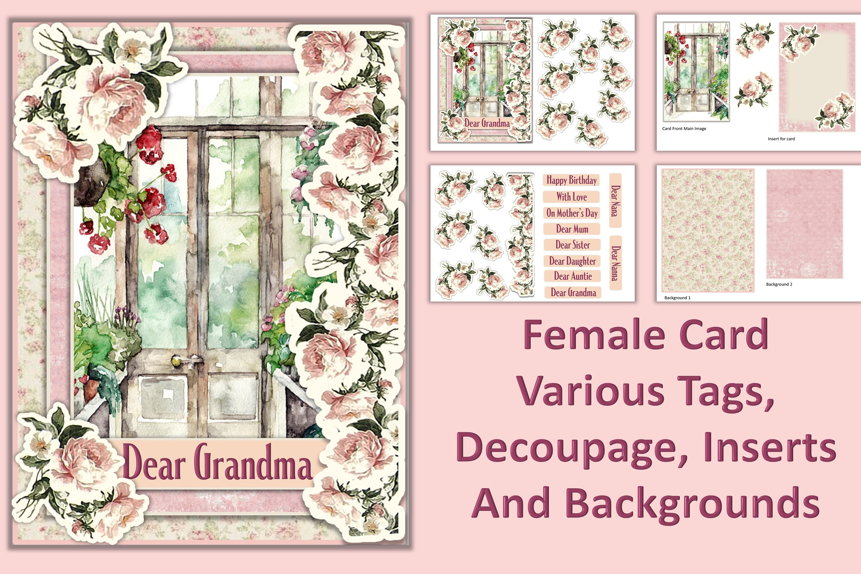 Card Making Kit Set of 4 Watercolour Garden JPEG, PDF & PNG example image 4