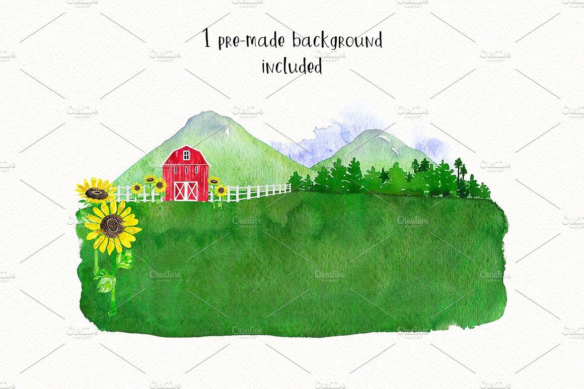 FARM ANIMALS watercolor set PART 1 example image 3