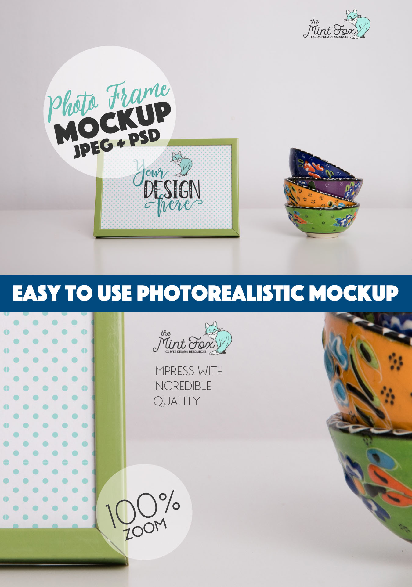 Photo Frame Mockup with Cups example image 3