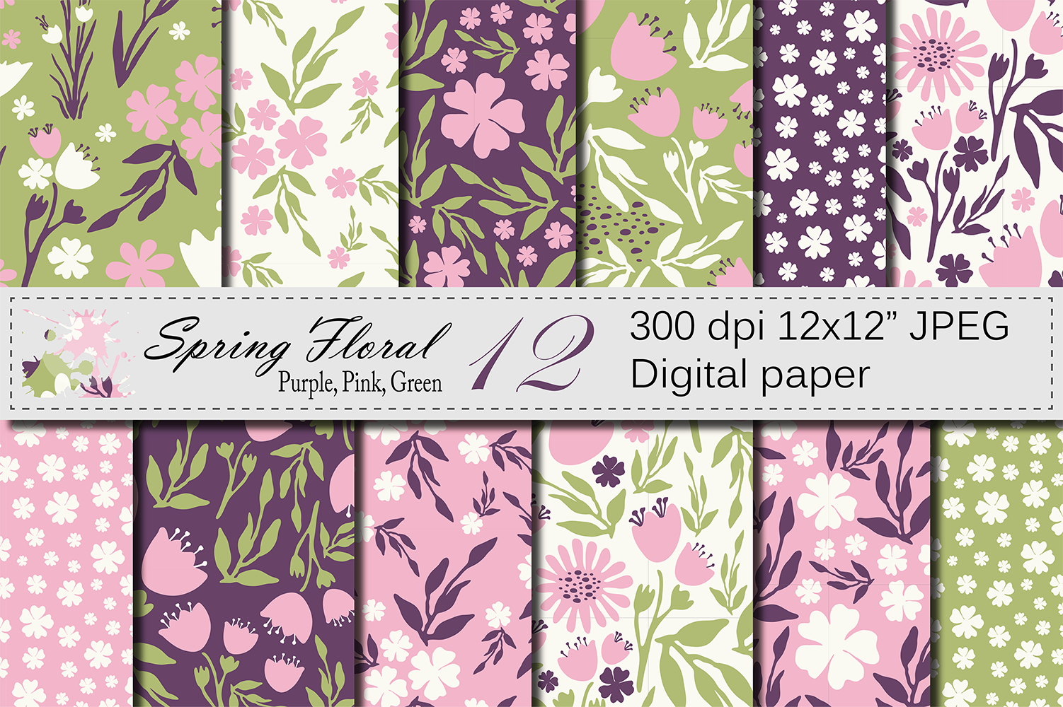 Seamless Floral Digital Paper, Hand Drawn Flowers - Pink Purple Green example image 1