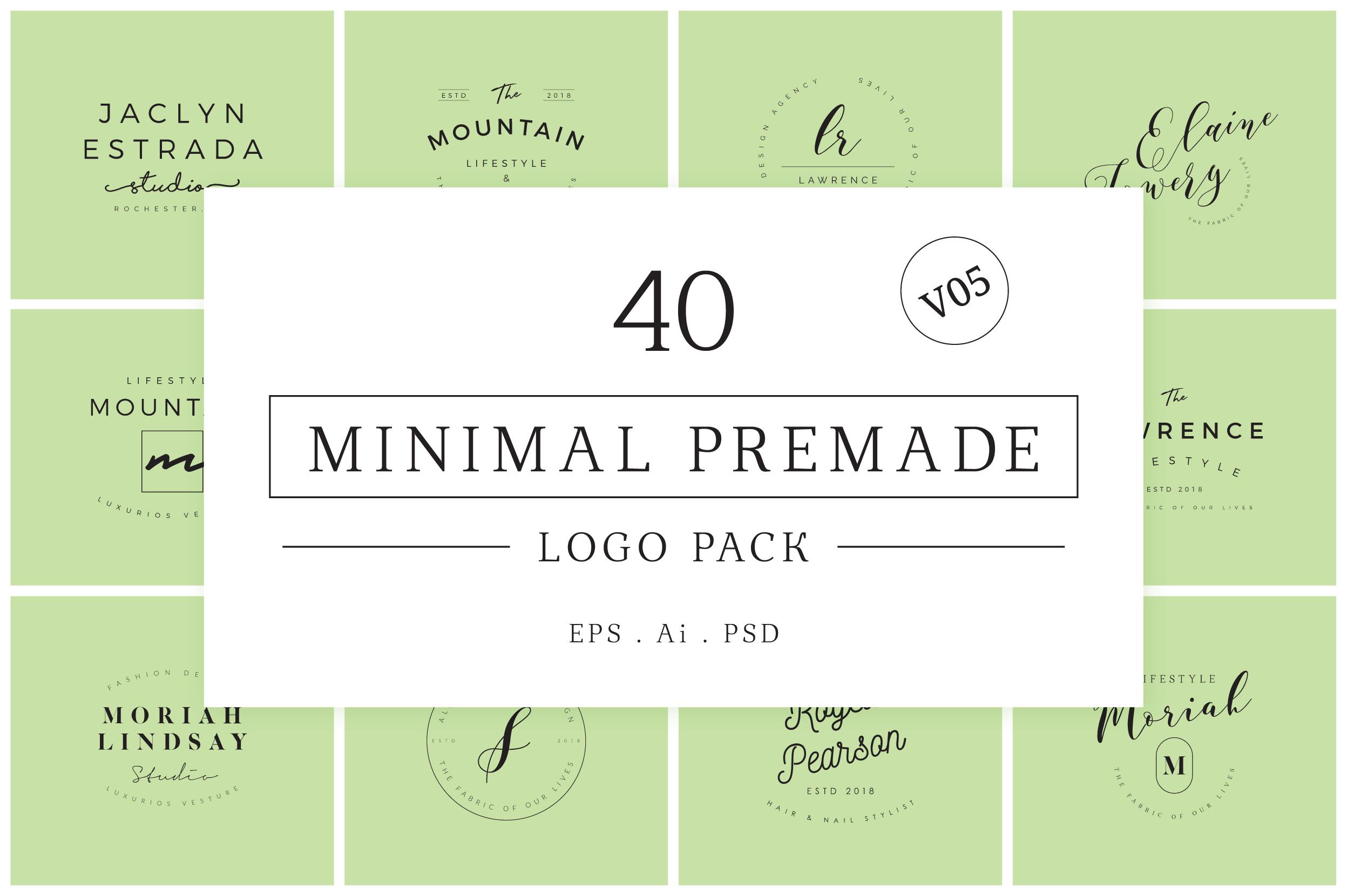 Minimal Premade Logo Bundle V05 example image 1