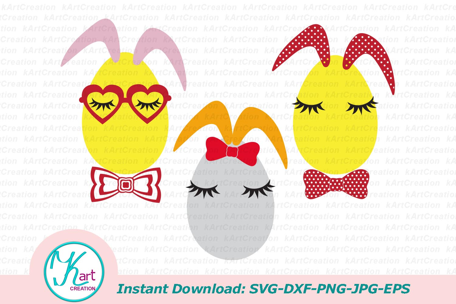Bunny Ears eggs face bundle svg dxf toddler oneness cut file example image 3