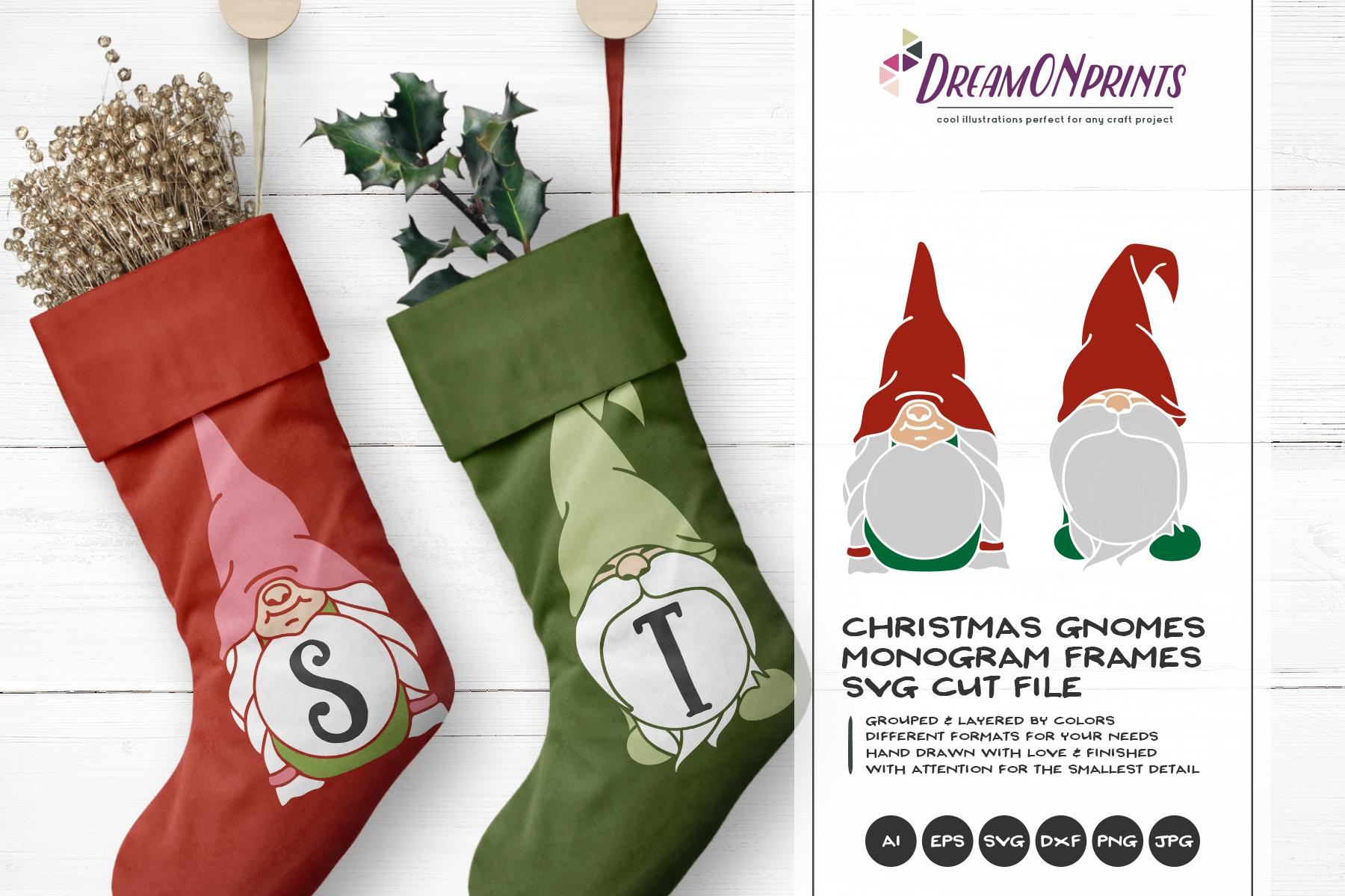 Christmas Gnomes.Monogram Frames Christmas Gnomes Svg