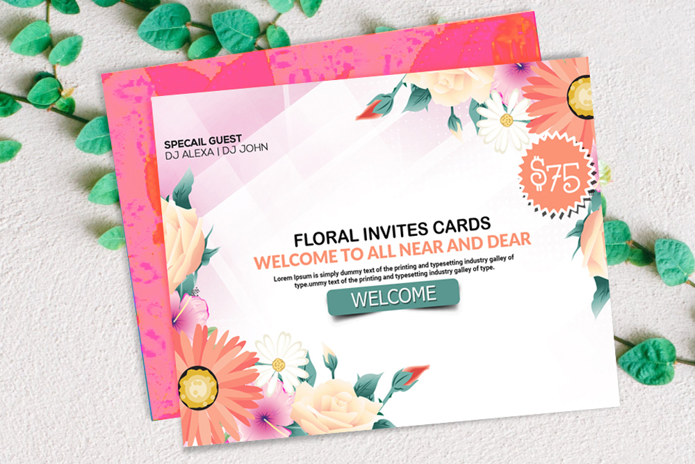 Floral Invitation Card Template example image 1