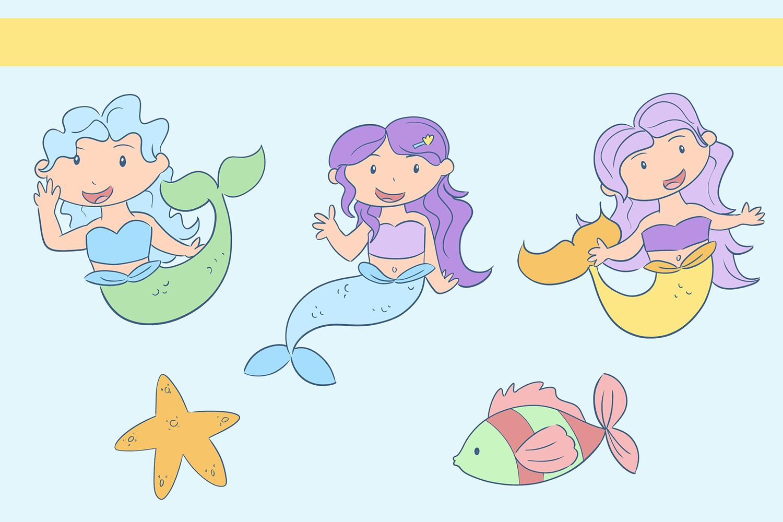 Pastel Mermaid Illustrations example image 3