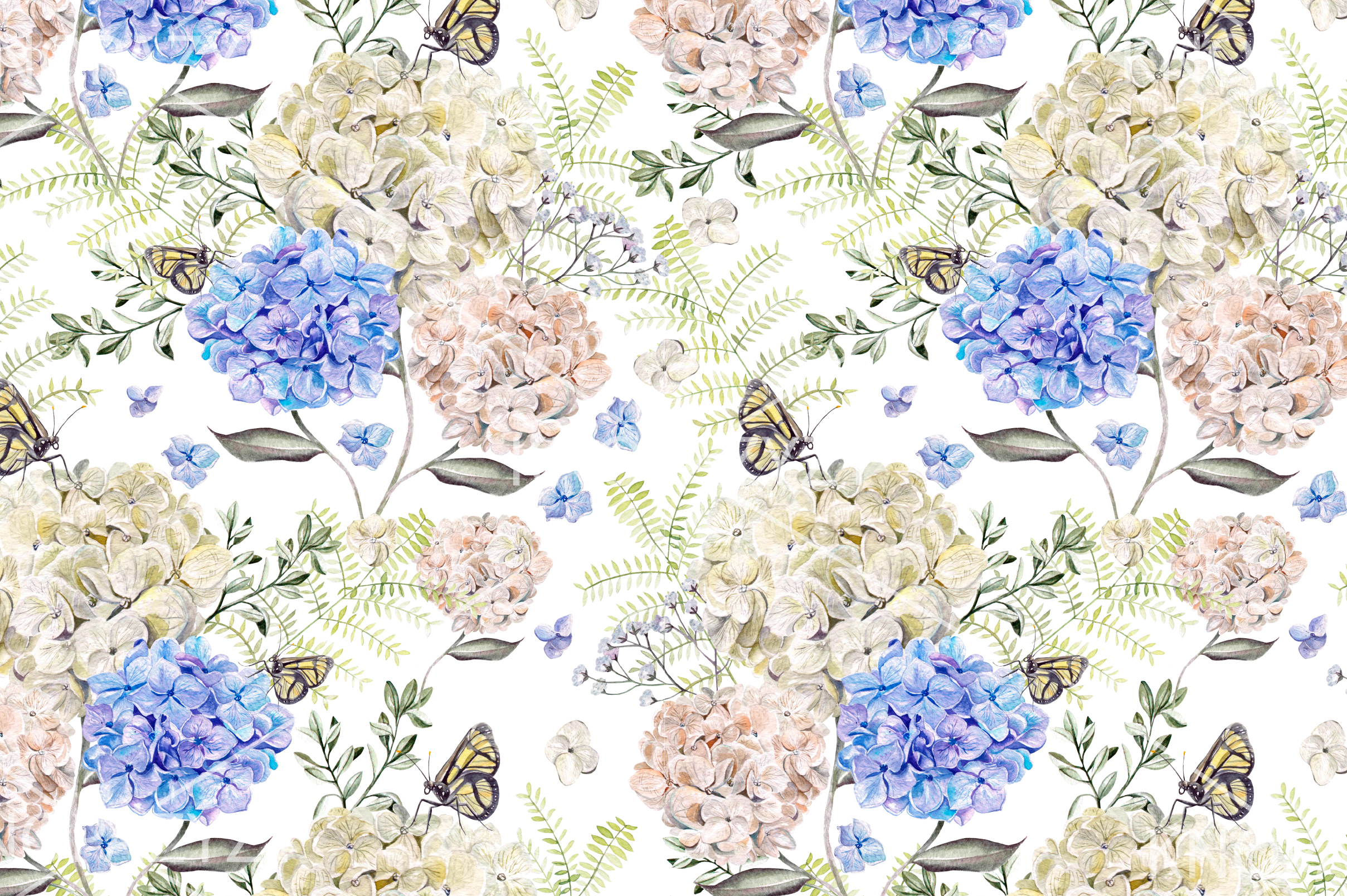 6 Hand Drawn Watercolor PATTERNS example image 5