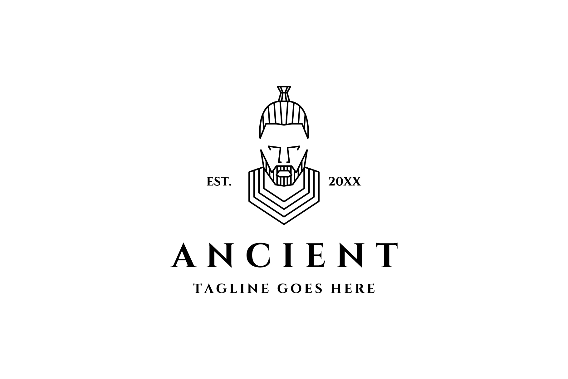 ancient man line art logo example image 1