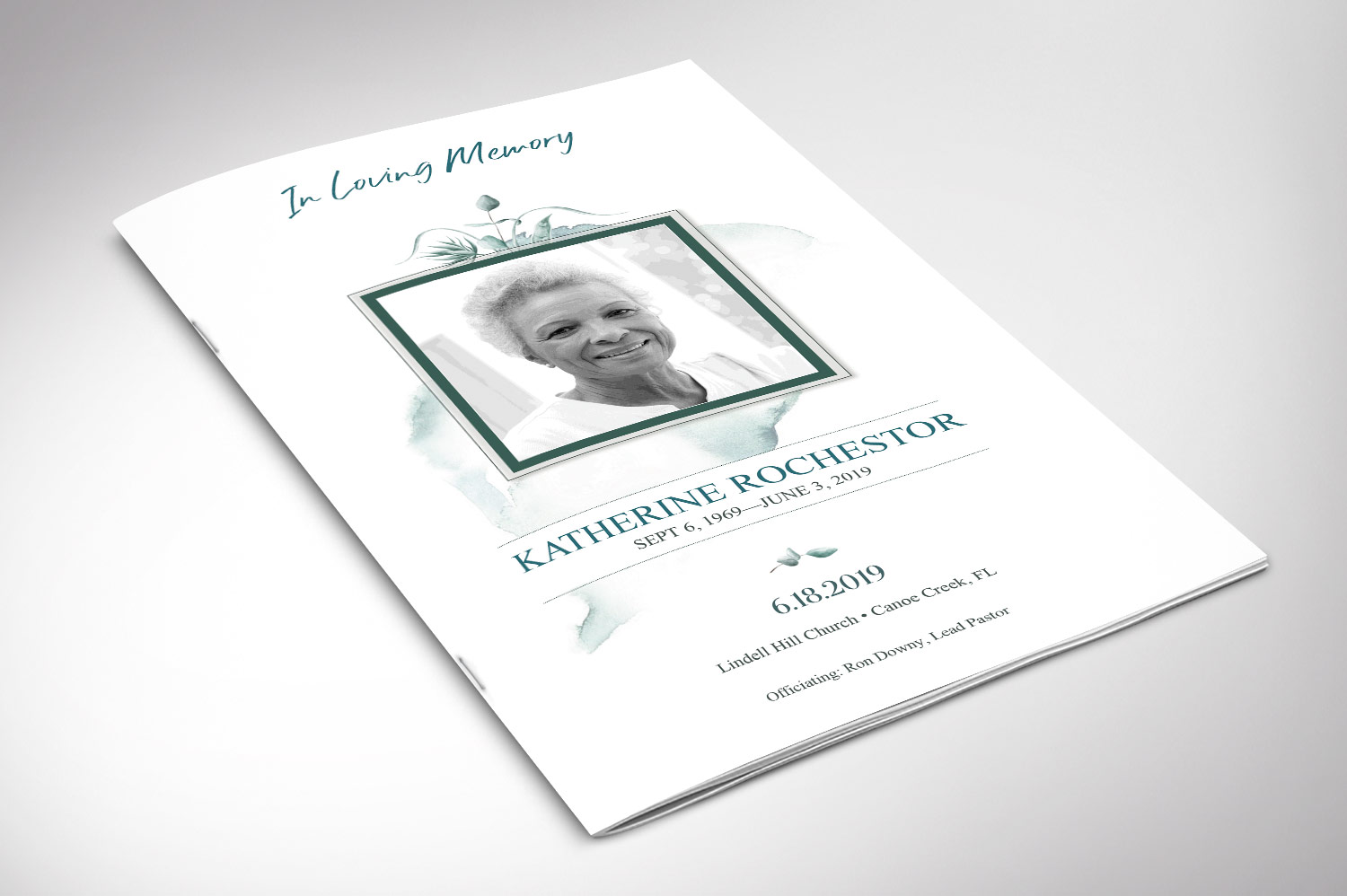 Blossom Funeral Program Word Publisher Template | 8 Pg example image 5