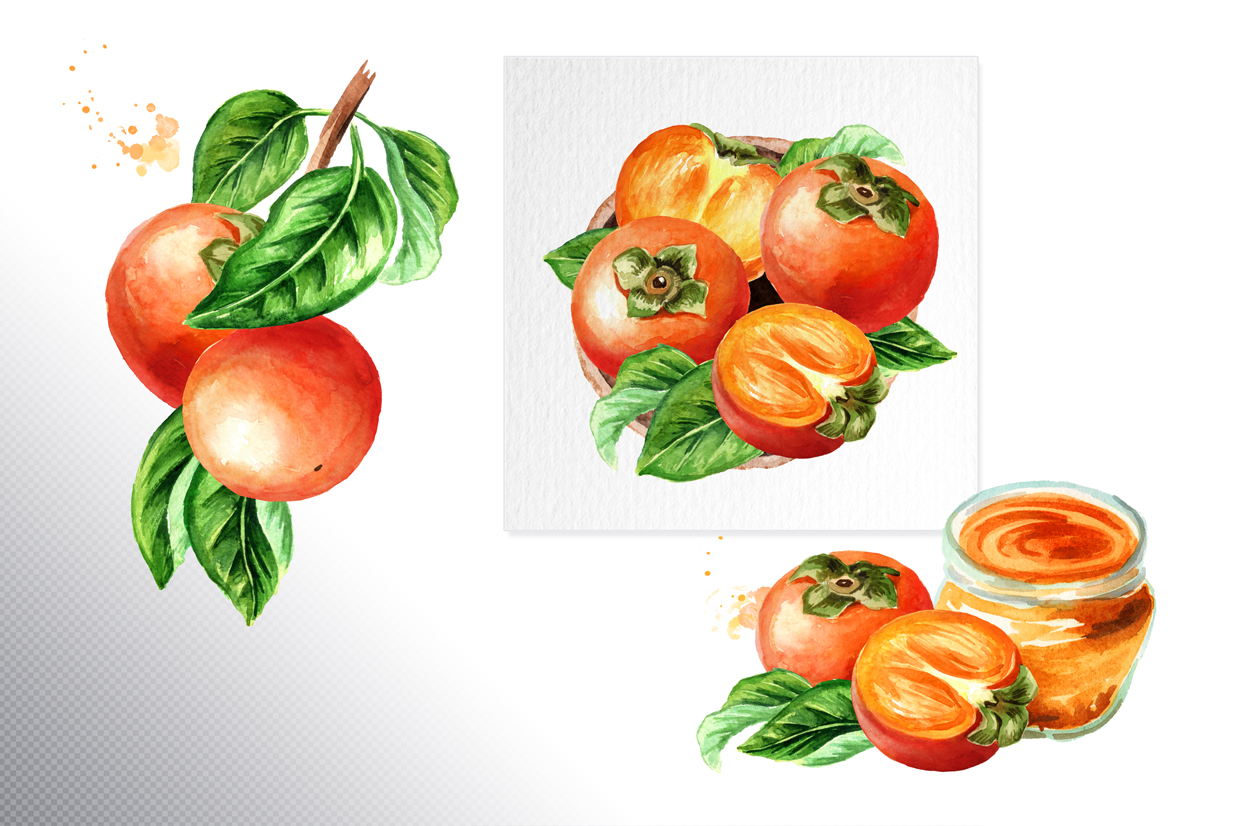 Persimmon. Watercolor set example image 4