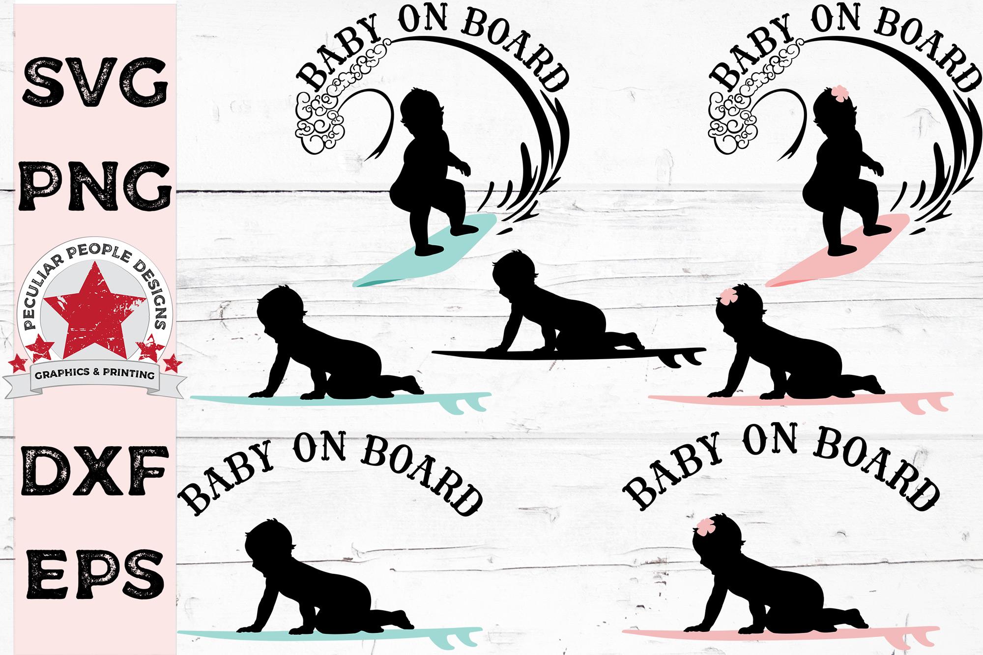 Big SVG Bundle Baby On Board Surfer Skateboarder Snowboarder example image 3