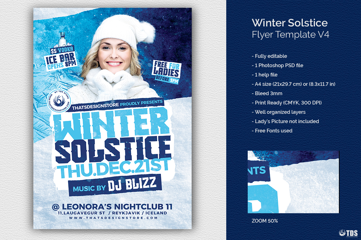 Winter Solstice Flyer Template V4 example image 1