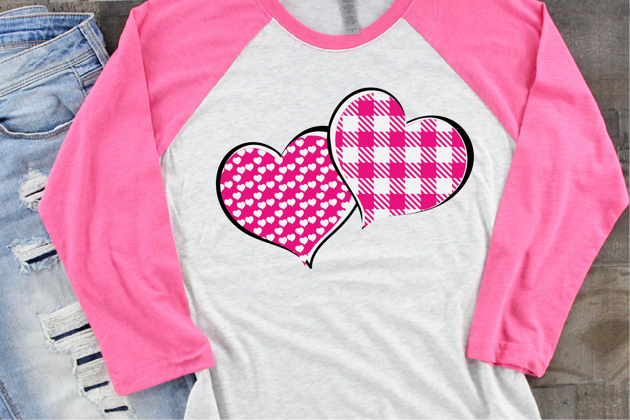Valentine's Day SVG, Pink Buffalo Plaid Heart Sublimation example image 1