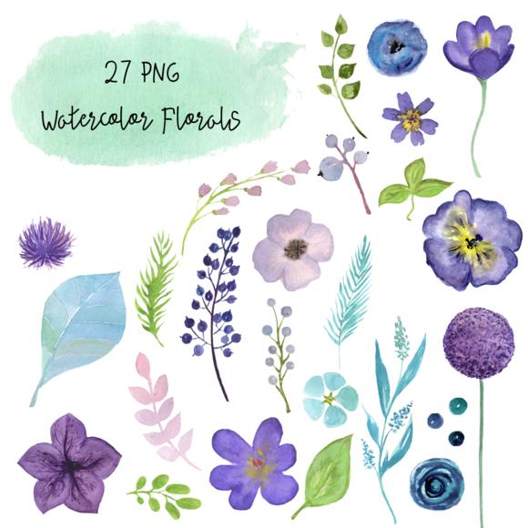 27 PNG Watercolor Florals Clip Art example image 2