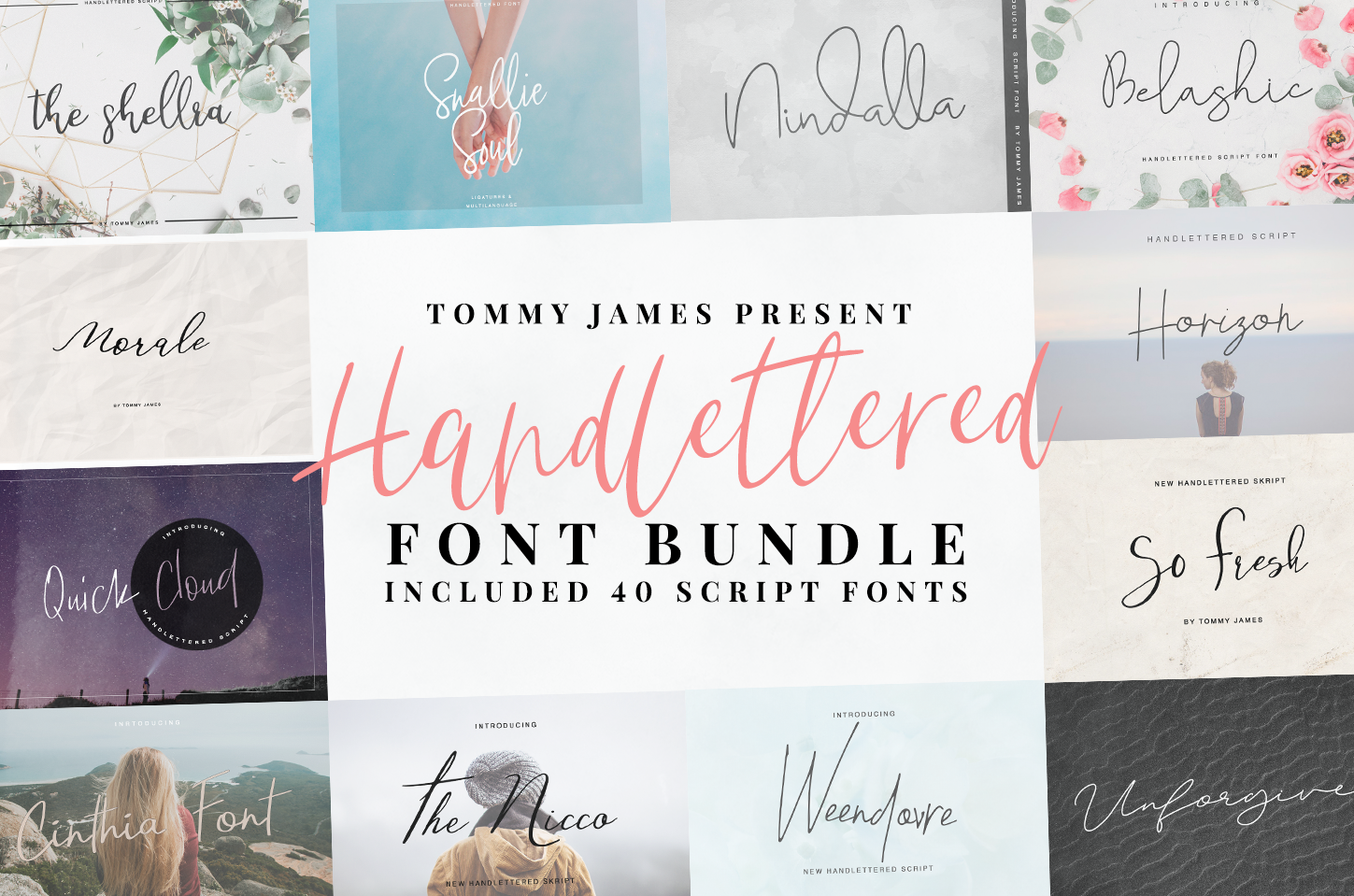 40 in 1 font bundle by Tommy James example image 1