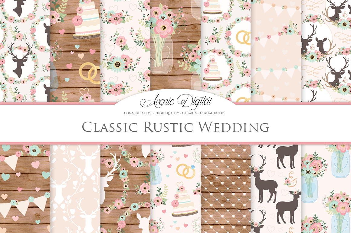 Pink and Mint Rustic Wedding Digital Paper - Classic Rustic Deer Wedding Seamless Patterns example image 1