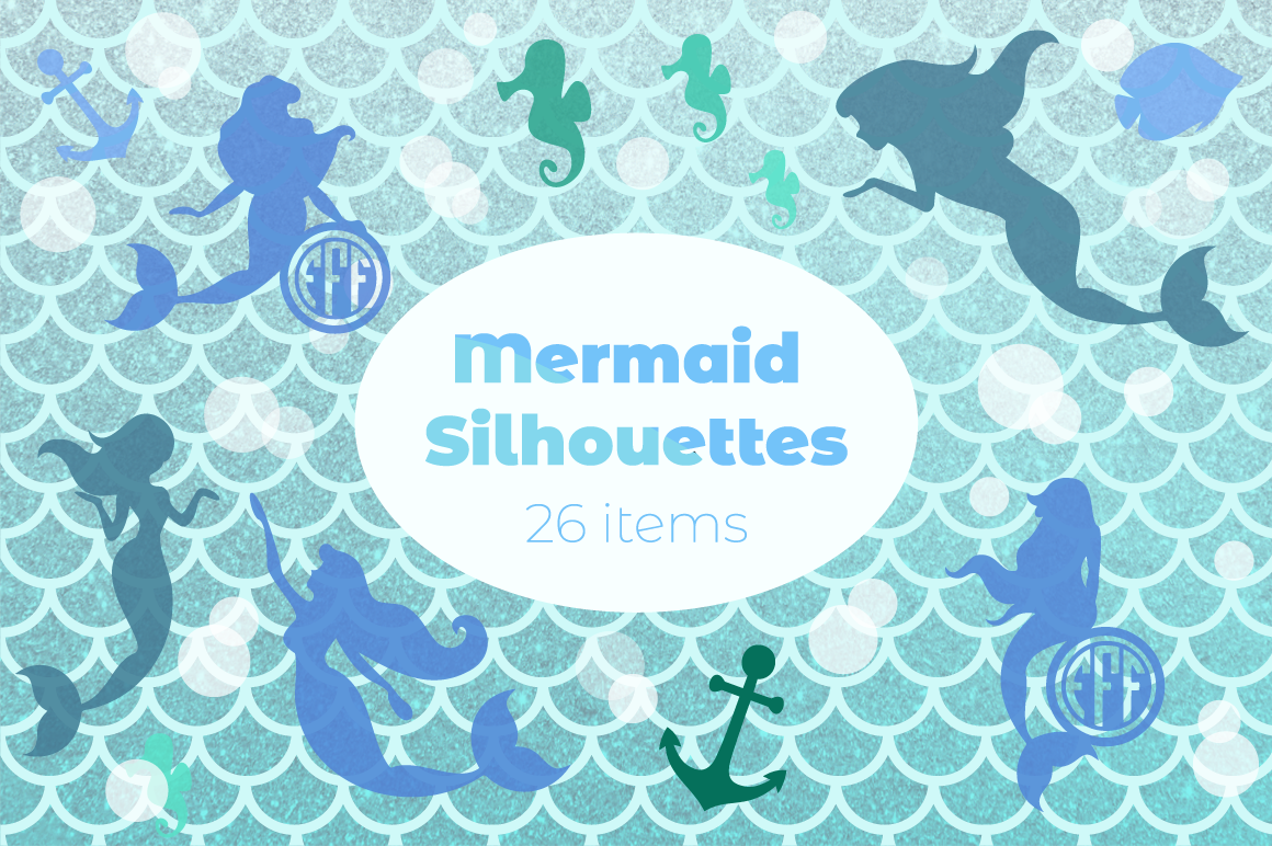 Mermaid Silhouettes | Mermaid Monograms SVG Cut Files example image 1