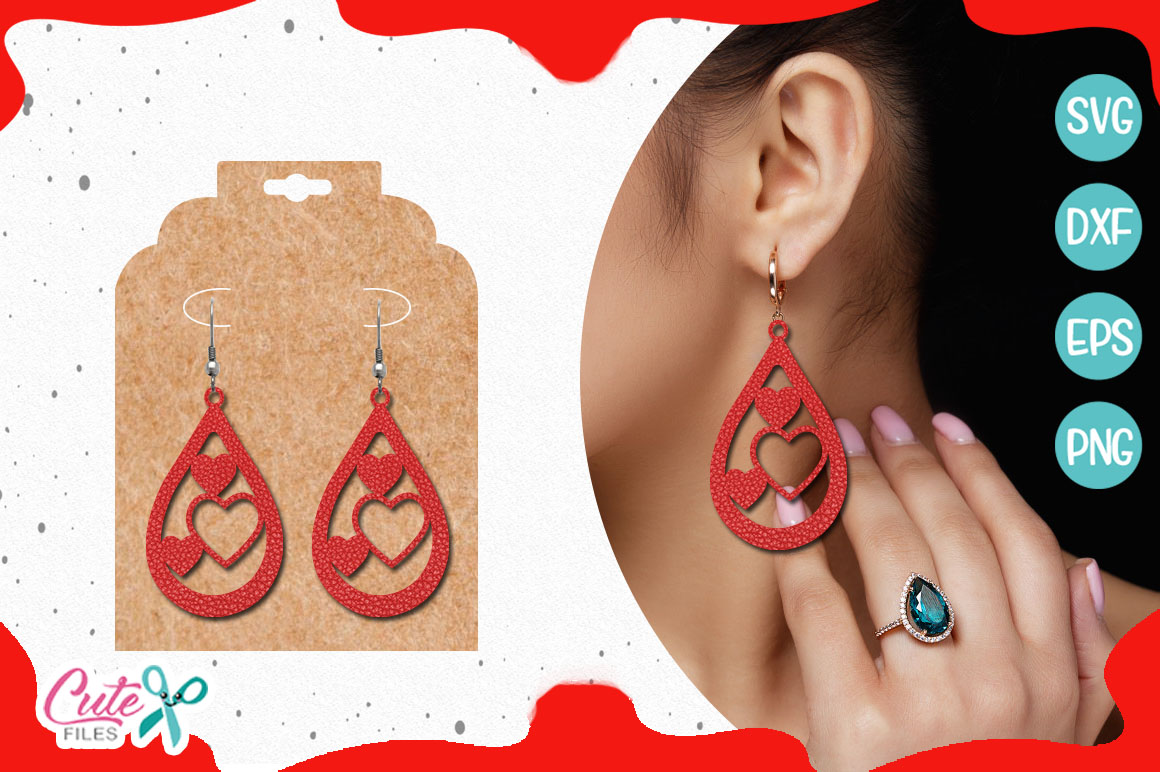 Valentine's day earring templante bundle SVG example image 2