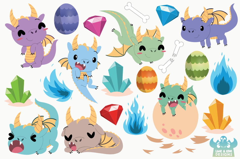 Little Dragon Boys Clipart, Instant Download Vector Art example image 2